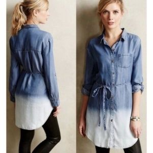 ANTHROPOLOGIE L CHAMBRAY TUNIC TOP HOLDING HORSES